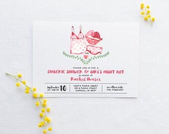 Bachelorette Lingerie Shower Invitation - Printable, Custom - DIY Wedding - Watercolor, Boudoir, Calligraphy, Bridal, Wedding, Party