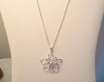Large Vintage Sterling Flower Statement Pendant Necklace