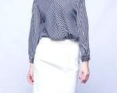 Black and white blouse, striped women blouse, long sleeve shirt, spring fashion, L, large, handmade