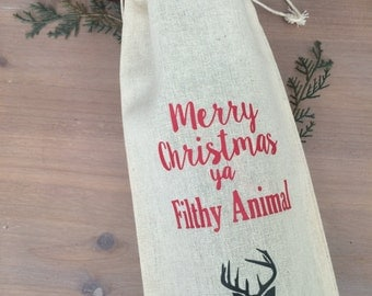 Merry Christmas Ya Filthy Animal Wine Bag Home alone wine gift wine lover funny wine bag deer silhouette wine hostess gift