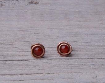 red stud earrings bridesmaid gift red agate earrings gemstone studs minimal earrings best friend gift for mom copper wire earrings