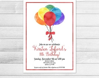 Rainbow Balloons Birthday Party Invitation, Digital File, Gender Neutral
