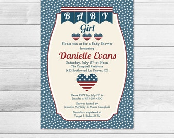 Stars and Stripes Patriotic Baby Shower Invitation - Flag, Americana Printable, Digital Girl Baby Shower Invite File