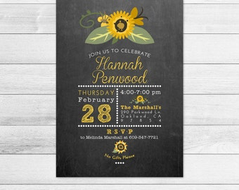 Chalkboard and Sunflower Birthday Party Invitation, Printable Digital Invite File, Subway Style