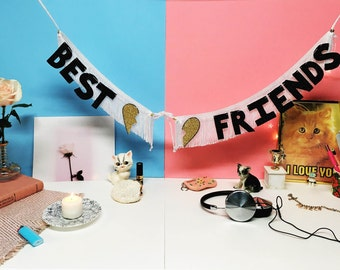 Best Friends Glittering Fringe Banner | wall hanging, decor banner, dorm decor, party banner, fringe garland, glitter letters, sign