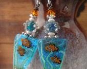 Tropical Fish, Aquarium Earrings, Dory Fish, Nemo, Art Beads, One of a Kind, Dichroic Glass, Clownfish, Artisan Lampwork Glass, Art Glass