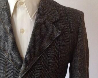 Vintage 60s/70s Grey Herringbone Full Belted Norfolk Style Jacket Size 36/38