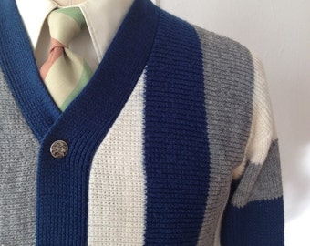 Vintage 60s Blue/White/Grey Striped Cardigan Size Extra Small/Small