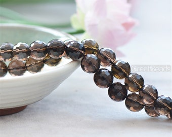 Faceted Grade AA Natural Smoky Quartz Beads Round with 128 Facets 6mm-16mm 15 Inch Strand SQ15