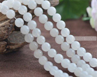 Grade A Natural White Jade Beads 6mm 8mm 10mm 12mm Smooth Polished Round 15 Inch Strand JA51 Wholesale Gemstone Beads