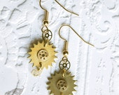 Steampunk Neo-Victorian Antique Vintage Brass Gold Pocket Watch and Clock Cog Gear Earrings