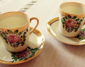 Vintage Lusterware Demitasse-Sized Cups and Saucer Set from Occupied Japan SET OF 2