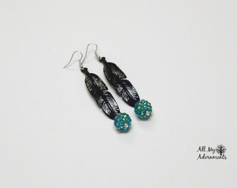 Feather Earrings,Black and Teal Feather Earrings,feather jewelry,boho inspired earrings,boho jewelry