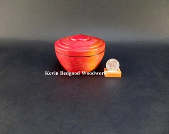 Box Lidded Container Pink Ivory wood hand turned Jewelry stash