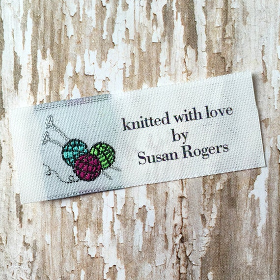 Knitting Labels Personalized : Knitting needle labels woven for knitters