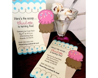 Ice Cream Invitations, Ice Cream Social, Sweet Shoppe Invitations, Sweet Shoppe Party, Sweet Shop Birthday Invitations