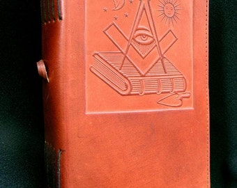 Handmade Leather Journal Diary - with Hand=Tooled MASONIC Symbols - approx A5