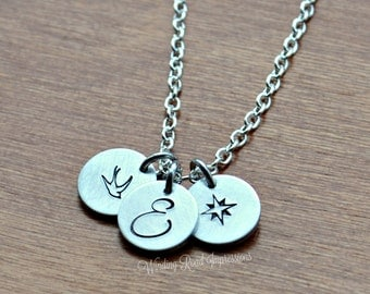 Your Love- Personalized Hand Stamped Necklace with 1-5 Discs