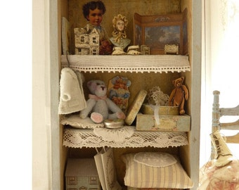 Miniature wooden nursery cabinet, Toy shelves, Baby clothes, Aged blue, Collectible dollhouse furniture in 1:12th scale