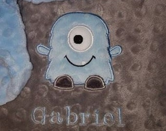 Lil Monster Embroidered/Appliqued Baby Minky Blanket