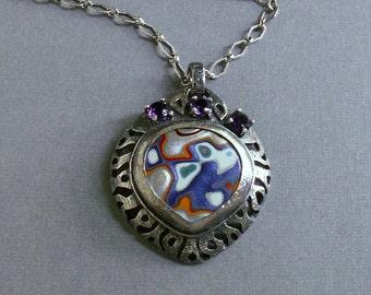 Fordite, Fordite pendant, fordite jewelry, Detroit Agate, handmade silver and fordite pendant, Fordite necklace, OOAK fordite pendant