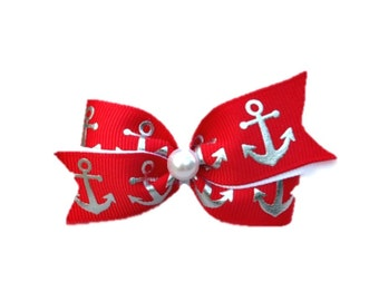 Anchor hair bow, Nautical hair bow, red and silver anchor hair bow, Dog hair bow, Dog bows, Small hair bow, baby headband, toddler clip