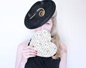 1940s Hat / VINTAGE / 40s Hat / Tilt Hat / Spiral Hook / Felt Wool / Black