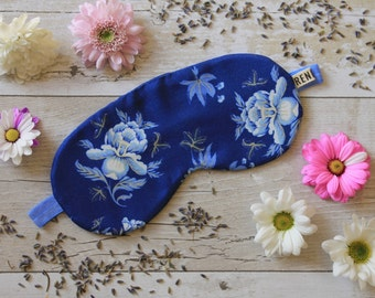 White and Blue floral print sleep mask
