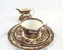 Vintage Royal Staffordshire Tonquin by Clarice Cliff Brown Vintage Tea Cup Saucer Small Plate and Cream Pitcher Lot of 4 Pieces Transferware