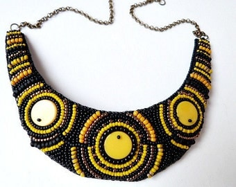 Chunky black yellow necklace, big bold necklace, bib beadwork necklace, embroidered ethnic necklace, unique necklace, hippie necklace