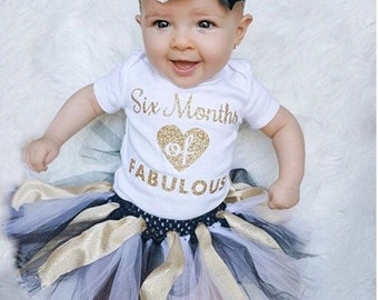 DIY SIX MONTHS of Fabulous Half Birthday 1/2 Baby Iron on Decal - Sparkly Gold Pink Silver or Red Glitter