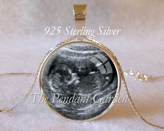 BABY SONOGRAM NECKLACE Sterling Silver Ultrasound Pendant Pregnancy Gift Baby Shower Gift Grandma Gift Mother-to-Be Gift Baby Memorial