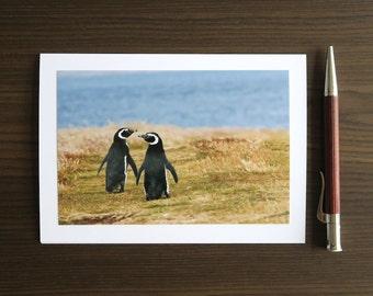 Penguin Engagement Card, Photo Greeting Card for Anniversary, Handmade Wedding Notecard, 4x6 Penguin Print