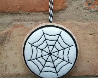 Felt Halloween spider's web ornament