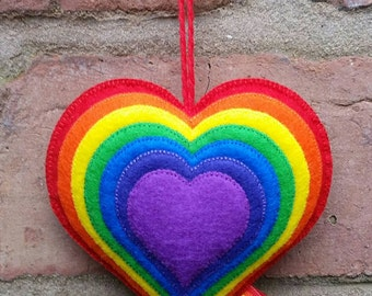 Cute felt bright rainbow heart