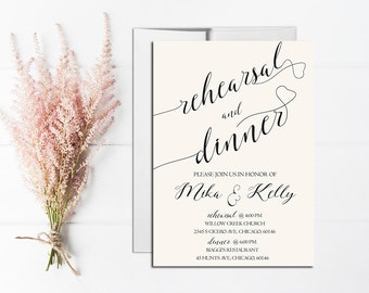 White Rehearsal Dinner Invitation Printable, Modern Rehearsal Dinner Invite Template, Elegant Rehearsal and Dinner, Rustic rehearsal dinner