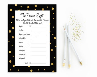 Price is Right Baby Shower Game Printable, Gold and Black Price is Right, Polka Dots, Digital File, Instant Download The Price is Right