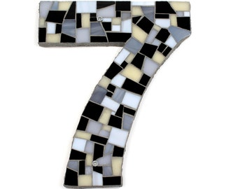 Modern House Numbers in Mosaic Tile in Black, White and Grey Stained Glass