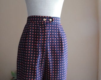 Vintage 1980s High Rise Navy Shorts with Red Stars by Tail