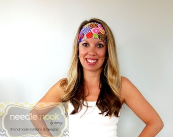 The Candy Print Yoga Headband - Spandex Headband - Boho Wide Headband