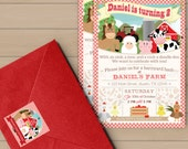 Farm Birthday Invitation, Address Labels, and Envelope Seal Set, Barnyard Birthday Invitation, Farm Party, Barnyard Party - DIY Printable