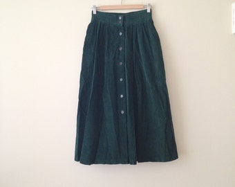 VINTAGE forest green CORDUROY skirt grunge minimal hipster MIDI length button down closure