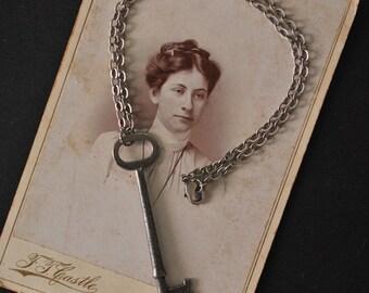 Vintage Silver Skeleton Key Necklace