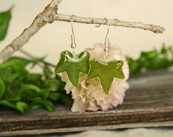 Ivy Leaf Earrings / Ivy Leaf and Resin Hook Earrings / Resin Jewelry