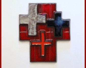 Modernist wall art, ceramic cross. By Oswald Tieberghien. 1960s mid century studio pottery.