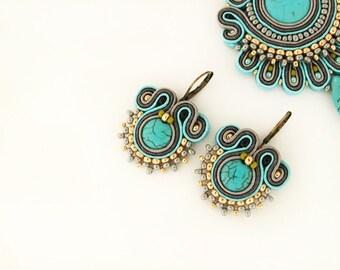 Turquoise beaded earrings, turquoise earrings, soutache earrings, turquoise boho earrings, soutache jewelry, drop soutache earrings