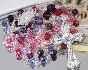 Catholic Swarovski Crystal Rosary in Pinks and Purples