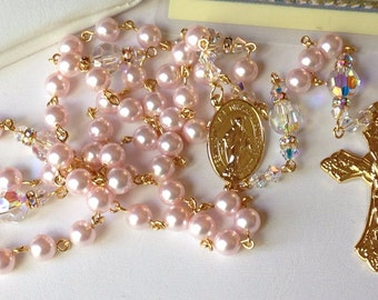 Catholic Swarovski Pink Pearl Rosary in Gold