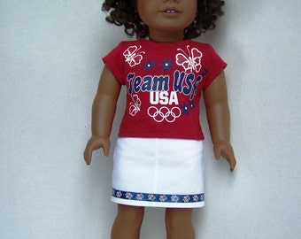 Girls Team USA Olympic Up-Cycled T-Shirt with White Denim Skirt - Fits 18 inch Girl and Boy dolls