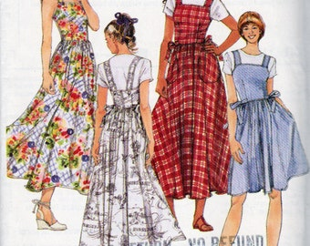 McCalls 8230, Misses Sun Dress or Jumper in 2 Lengths, Above Knee or Midi length Sun Dress, Bias Skirt, Side Seam Pockets, Semi Fit Bodice